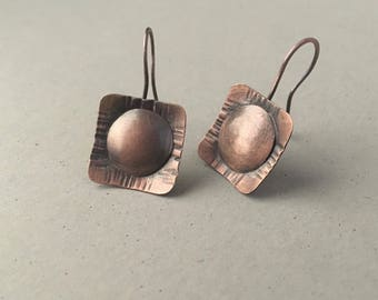 Handmade copper earrings, hand forged earrings, rustic dangle earrings