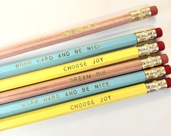 Set of 6 Engraved Pencils | Dream Big | Work Hard Be Nice | Choose Joy | Encouragement Gifts | Positive Message Gifts | Girl | Empowerment