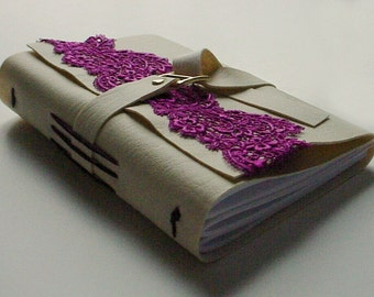 Great Gift For Her - Mothers Day Gift - Faux Leather Journal/Notebook - Fuschia Venice Lace