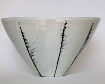 Handmade Bowl, Pottery Bowl, White Bowl with Black Lines,  Large Bowl, Serving Bowl, Stoneware Bowl, Ceramic Bowl