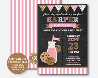 Instant Download, Editable Milk and Cookies Birthday Invitation, Milk and Cookies Party Invitation, Girl Invitation, Chalkboard (CKB.02B)