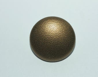 Bronze Leather Button. Bronze Leather Covered Button with Shank Back.