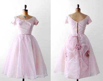 60 party dress. tulle. 1960's pink dress. organza. bow. floral. small. 60's 50's full dress. s.