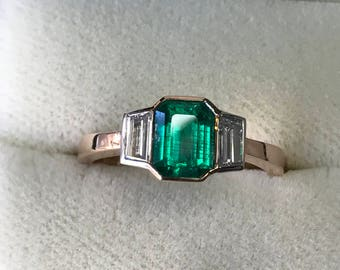 Stunning Art Deco Style Handmade Colombian Emerald Ring. In 18 carat Rose Gold and Platinum.