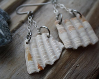 NATURAL Shell Earrings, Sterling Silver, Dangle Earrings, Shell Fragment Earrings, Sea Shell Jewelry, Beach Jewelry, Washed Up Jewelry Co