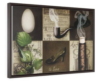 Smoking Magritte - Horizontal Framed Premium Gallery Wrap Canvas