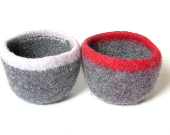 WOOLY FELTED Bowls - two felted bowls - two-toned grey with red and white 10