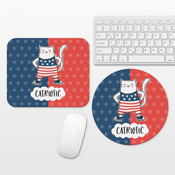 Cat Patriotic Mouse Pad, USA American Flag Mousepad, Stars and Stripes Funny Mouse Mat, Desk Decor Office Desk Accessories for Men Women