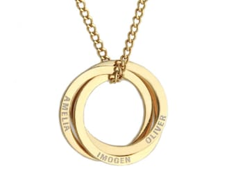 interlocking circle necklace Necklace Jewellery 30th 50th birthday Names linked russian ring necklace Valentine Wedding Christmas gift