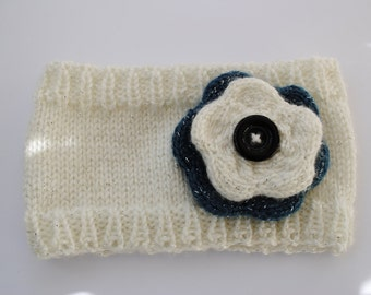 Knitted Ear Warmer with Flower and Button