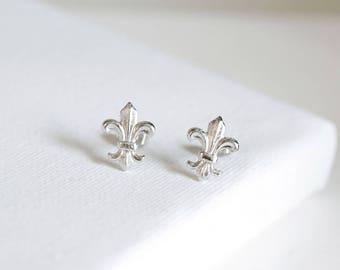 fleur de lis stud earrings . fleur de lis jewelry . simple fleur de lis studs . silver fleur de lis earrings . fleur de lys earrings