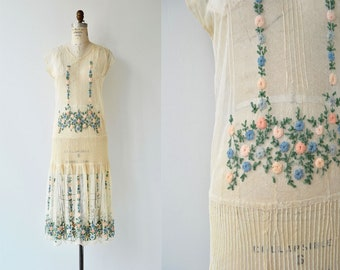Spring Prelude dress | antique 1920s dress | floral net lace 20s dress