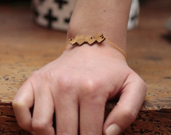 Bracelet gold heart wood