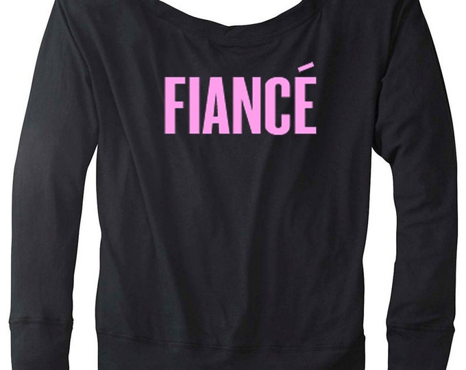 Fiance Ladies Flowy Long Sleeve Black Off Shoulder Tee