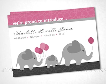 Marching Elephant Family Birth Announcement - Pink - DIY Printable