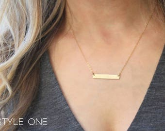 Engraved Bar Necklaces, Rose Gold Silver or Gold, Custom Personalized