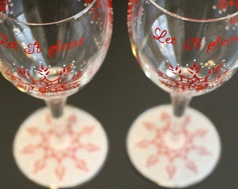 Set of 2 Snowflake Wine Glasses Personalized Winter Glassware Stemware Let It Snow Frost Holidays Christmas Hand Painted Cranberry Red White