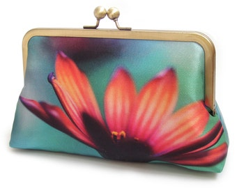 Daisy clutch bag, flower silk purse, orange pink, flower handbag