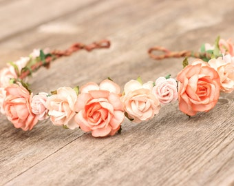 Rose Peach Flower Crown,  Peach Flower Girl Crown, Wedding Crown, Rose Flower Crown, Toddler Halo, Wedding Headband, Boho Floral Crown Peach