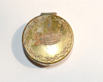 1930s Gold Tone Small Luxor Rouge Compact, Makeup, Pillbox, Sewing Kit