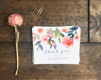 Customized Wedding Thank You Cards. Custom Floral Watercolor Thank You Cards. Wedding Gift. Wedding Stationery. Custom Wedding Cards.