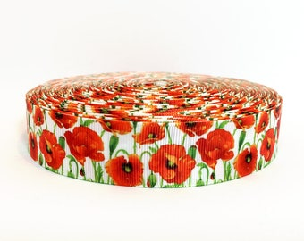 "Floral Ribbon - Red Poppies - Flowers -1"" Printed Grosgrain Ribbon"