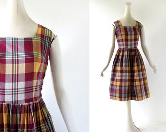 50s Plaid Dress | Camp Narragansett | 1950s Dress | XS