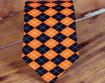 Boys Necktie - Awesome Halloween orange and black diamond print cotton neck tie, Pre-tied, Adjustable, in Infant, Toddler, Child sizes