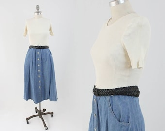 Vintage 90s Denim Midi Dress - Short Sleeve Button Front Jersey Jean Day Dress - A Line Fit and Flare Sundress - Size Large to Medium L M
