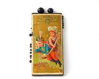 """Antique Needle Case Sewing Collectible German Neuss Brothers 1800s Pin Cards Needle Cases H.F.Neuss Pin Card Seamstress 2 3/4"""" FREE SHIPPING"""