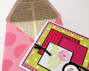 Pink Green Best Wishes Handmade Birthday Card Vintage Book Page