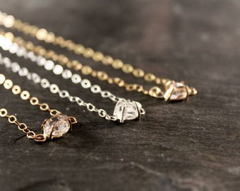 Herkimer Diamond Solitaire Pendant Necklace (Gold Sterling Silver Rose Gold Raw April Birthstone  Gifts for her Under 50)