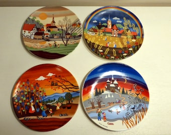 Set of 4 vintage seasons Poole pottery plates – original from the 1980s