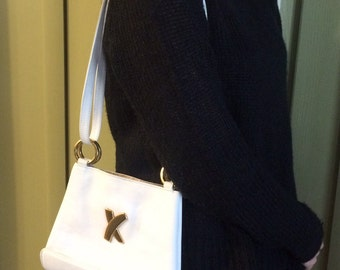 Vintage Paloma Picasso, White Leather Bag, White Shoulder Bag, White Cross Body, Paloma Picasso White Leather Purse, Paloma Picasso Bag