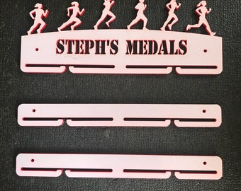 Personalised female runner acrylic medal holder