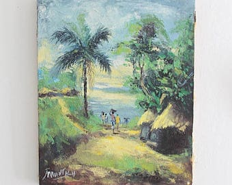 Vintage Oil On Canvas Painting, Tropical Village, Palm Trees
