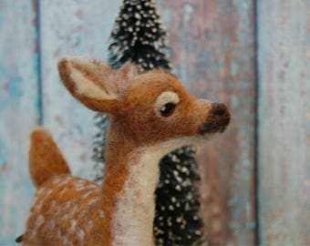 Needle Felted Fawn - Made To Order - Wool Animal Sculpture -