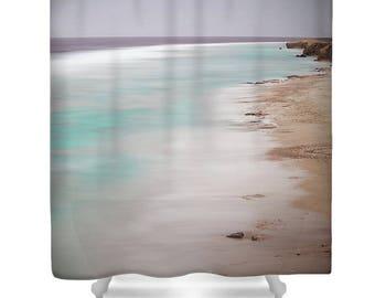 Ocean shower curtain, beach shower curtain, blue bathroom decor, beach bathroom, blue, white, blue shower curtain, photo shower curtain