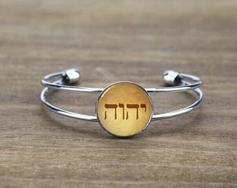 tetragrammaton bangle bracelet, custom gods symbol bracelet bangle, custom tetragrammaton logo, custom your image or logo, Jesus gift god