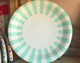 Mint Striped Paper Plates (12), Paper Eskimo Party, 9x9 Plate, Party Decor, Baby Birthday Party, Baby Shower, Bridal