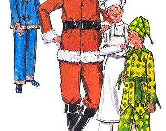 Boys Santa Costume Sewing Pattern, Chef, Jester and Chinese Suit, Butterick 5103, Size 7, Chest 26