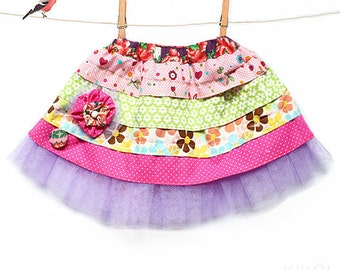 PDF Girls easter ruffle skirt pattern & fabric floral clip / toddler outfits sewing tutorial - sizes 1 to 8 years