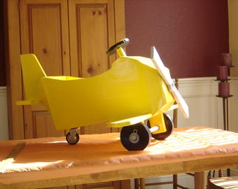 handmade wooden airplane swing, photo prop, rocker, push-pull for baby or toddler, birthday gift