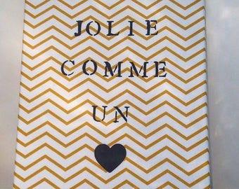 """Toile  """"Jolie comme un coeur"""" Chevrons jaune"""