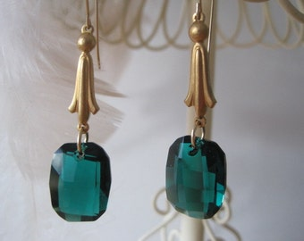 Emerald Crystal and Vintage Brass Drop Earrings