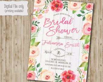 Floral Bridal Shower Invitation, Watercolor, Floral, Wood, Rustic, Shabby Chic, Boho Bridal Shower Invitation, Custom Printable