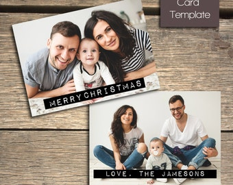 Modern Minimalist Label Christmas Card - 7x5 Photoshop Template - INSTANT DOWNLOAD