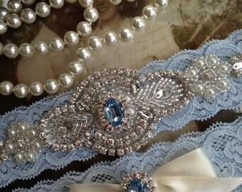 Wedding Garter-Bridal Garter-Garter-Blue Garter-Garter Belt-Something Blue-Rhinestone Garter-Vintage Garter-Pearl-Ivory-off-white-Toss