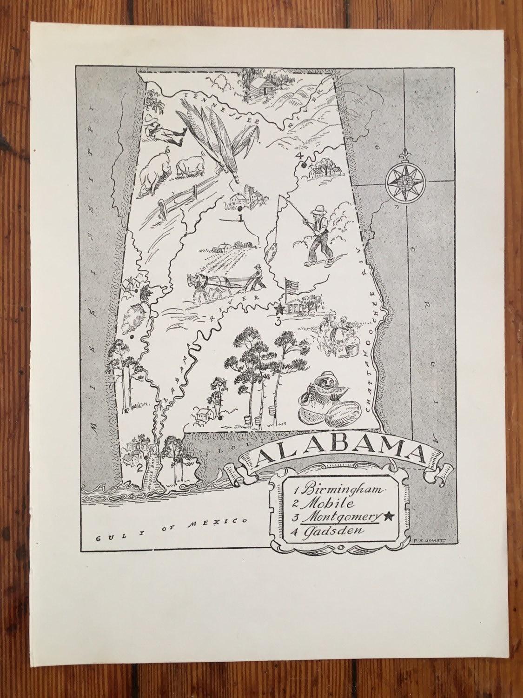 Alabama Map Art Vintage Map Print State Map Wall Art  # Gadsden Muebles