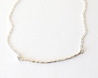 Hammered Sterling Silver Curved Bar Necklace - Modern and Simple Everyday Jewelry